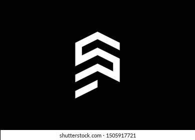 Logo design of SP PS in vector for construction, home, real estate, building, property. Minimal awesome trendy professional logo design template on black background.