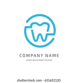 Logo design stomatology vector template. Illustration design of logotype business dental clinic flat symbol. Tooth and cross web icon