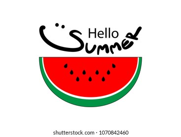 Logo design for Summer seasons. Vector illustration of colorful watermelon with text on white background.