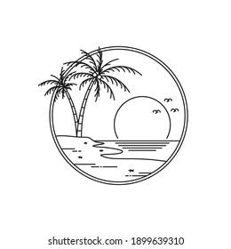 logo design sunset on tropical beach island. tropical island monoline design isolated on white background