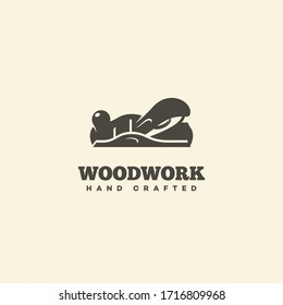 Logo design template with block plane for wood shop, carpentry, woodworkers, wood working industry. Vector illustration.