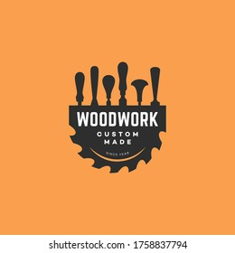 Logo design template with chisels and a saw blade for wood shop, carpentry, woodworkers, wood working industry, tool shop. Vector illustration.