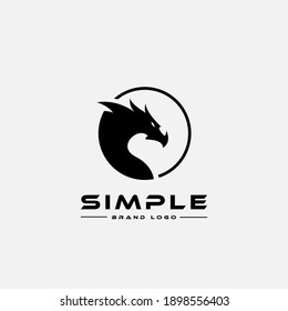 Logo design template, with a dragon head icon in a circle
