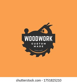 Logo design template with a hand plane and a saw blade for wood shop, carpentry, woodworkers, wood working industry, tool shop. Vector illustration.