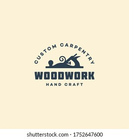 Logo design template with a hand plane for wood shop, carpentry, woodworkers, wood working industry, tool shop. Vector illustration.