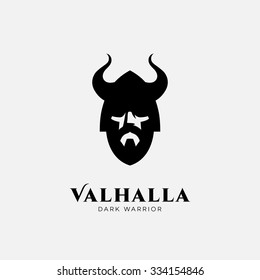 Logo design template with head of warrior in helmet. For team identity, sport club logo, mascot, game icon, security agency logo, etc. Vector illustration.