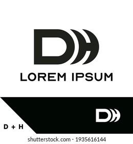 Logo-Design-Vorlage. Konzept der Buchstaben D und H. Kreative Monogramm-Inspiration. Monogramme werden oft durch die Kombination der Initialen einer Person oder eines Unternehmens hergestellt, die als erkennbare Symbole oder Logos verwendet wird.