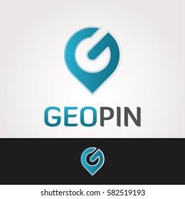 Logo design template. Letter G business symbol. Geological company. Geo pin concept sticker. Isolated vector icon illustration