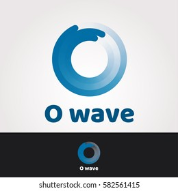 Logo design template. Letter O business symbol. Wave company concept sticker. Isolated vector icon illustration