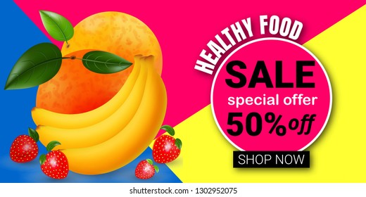 Logo design template for shops and cafes Healthy Eating .Vector illustration of summer sale and special offer words on fruits pattern.