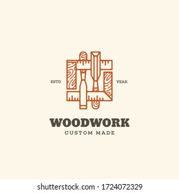 Logo design template with two chisels and squares for wood shop, carpentry, woodworkers, wood working industry. Linear style. Vector illustration.
