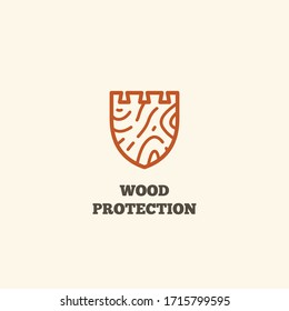 Logo design template with wooden shield for wood shop, carpentry, woodworkers, wood working industry. Linear style. Vector illustration.