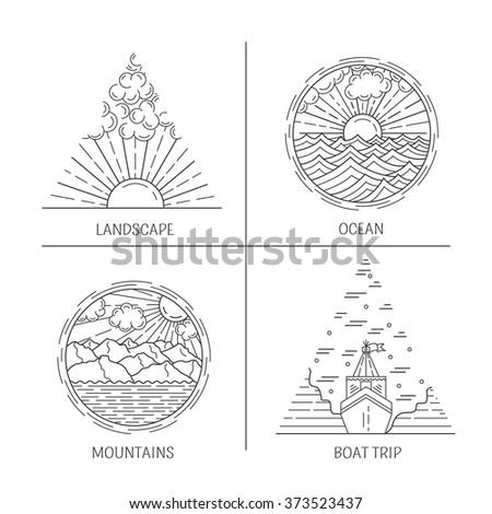 Logo Design Templates Linear Style Forest Stock Vector (Royalty Free ...