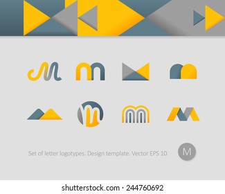Logo design templates. Stylized letter M.