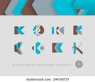 Logo design templates. Stylized letter K.
