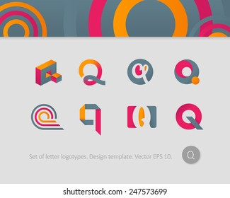Logo design templates. Stylized letter Q.
