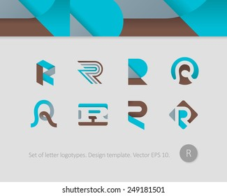 Logo design templates. Stylized letter R.