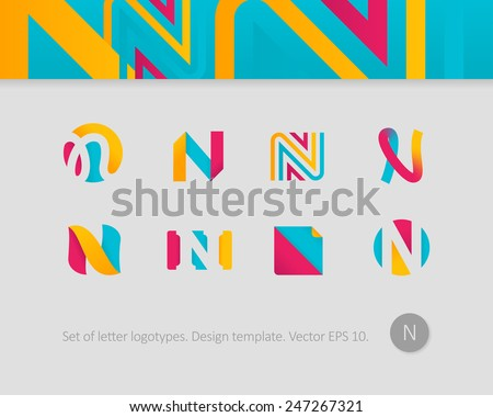 logo design templates stylized letter n stock vector royalty free
