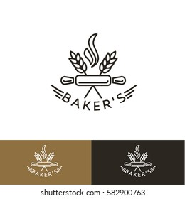 Logo design templates in trendy linear style for bakery emblems