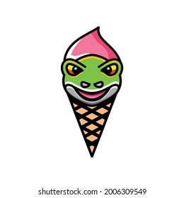 Logo Design Vector Combination of ice cream and frog
