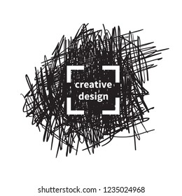 Logo design. Vector Hand drawn scribbles with frame. Doodle sketch scribble logo design with target concept