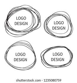 Logo design. Vector Hand drawn circle banner. Doodle sketch scribble circular logo design element