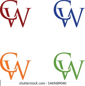 logo design vector symbol icon letter CW