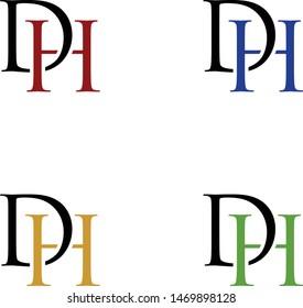 logo design vector symbol icon letter DH