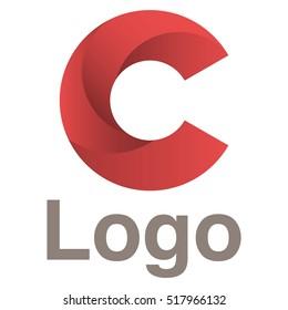 Logo design vector template. Red circles logo concept. Letter C