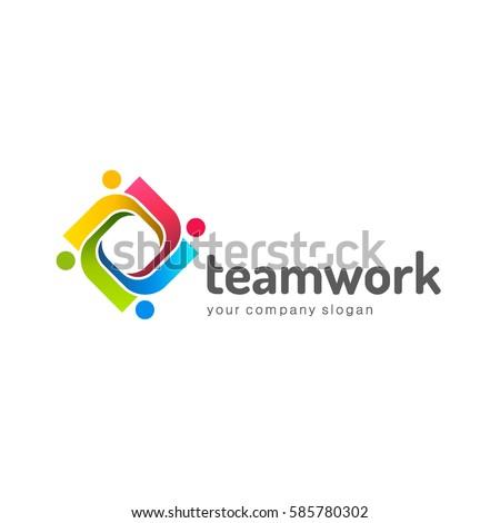 logo design vector template teamwork partnership のベクター画像素材