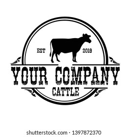 logo design vintage concept of cattle farming