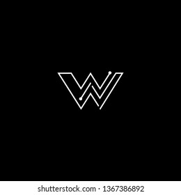 Logo design of W WW WN NW in vector for technology, electronics, digital, connection. Minimal awesome trendy professional logo design template on black background.