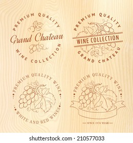 Logo design for wine with grapes. Vector illustration.
