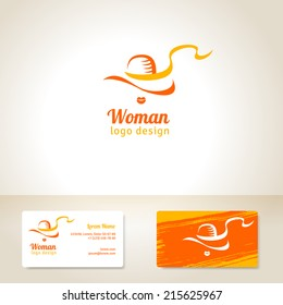 Logo design with woman in hat. Vector illustration. Business cards template with textured stroke. Fashion theme. Girl silhouette.