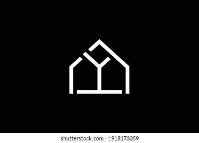 Logo design of Y in vector for construction, home, real estate, building, property. Minimal awesome trendy professional logo design template on black background.