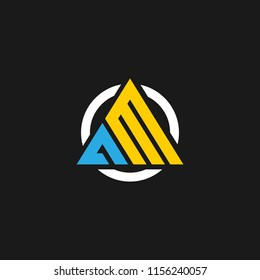 AM logo designed with letter A M in vector format.