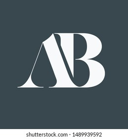The logo designs of letters A and B interlinks are white and the background is black