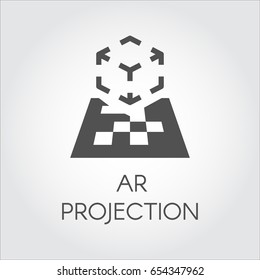 Logo of device virtual AR projection. Black flat icon of digital AR technology. Pictogram cyberspace, interactive, simulation, concept. Vector illustration for your projects
