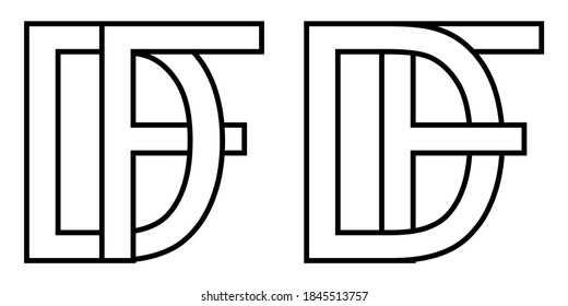 Logo df and fd icon sign two interlaced letters D f, vector logo df fd first capital letters pattern alphabet d f