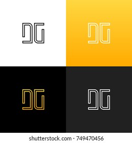 Logo DG. Linear logo of the letter d and g for companies and brands with a yellow gradient. Set of minimalistic monogram design.