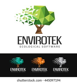 Logo of a digital tree built with polygons. This logo is suitable for many purpose as green products, ecological and environment software, green energies and more.
