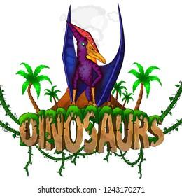 Logo  Dinosaurs World with  Pteranodon. Vector illustration.