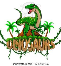 Logo  Dinosaurs World with Raptor. Vector illustration.