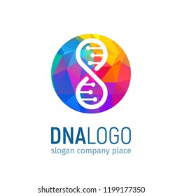 The logo of the DNA in circle with a polygonal texture. Isolated Deoxyribonucleic acid colorful logotype on white background. 25 april world genetic day concept