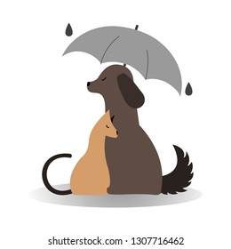 "Logo ""dog and cat."" Dog, hugging a cat, it's raining. Cat and dog under an umbrella, logo for a veterinary clinic or an animal shelter"