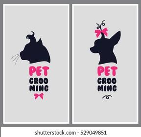 Logo for dog hair salon. Pet beauty salon logo. Pet grooming salon. Vector dog silhouette