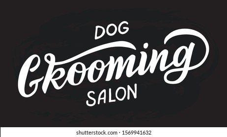 Logo for dog hair salon, dog styling and grooming shop, store for pets. Vector illustration isolated on white background. EPS 10