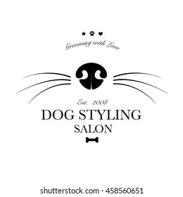 Logo for dog hair salon, dog styling and grooming shop, store for pets. Vector illustration