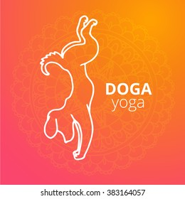 Logo for dog yoga studio. Dog yoga logo. Yoga dogs. Yoga for dogs. Vector dog yoga illustration. Dog yoga sticker. Logo for yoga with dog. Dog yoga logo on gradient background.