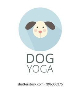 Logo for dog yoga studio. Dog yoga. Yoga for dogs. Dog on circle. Dog sticker.